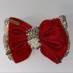 Burberry girls bow brochette sparkly red authentic